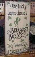 PRIMITIVE ST. PATRICKS DAY SIGN~LUCKY LEPRECHAUN~IRISH