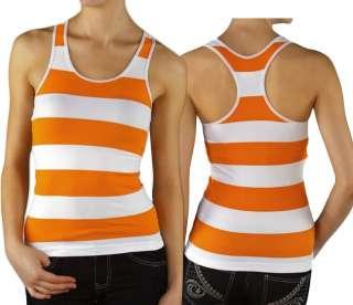 Orange/White Striped Sports Tank Top Seamless Racerback