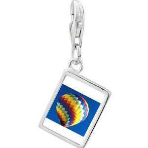 Silver Gold Plated Travel Hot Air Balloon Photo Rectangle Frame Charm