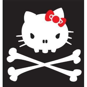 Hello Kitty Skull Sticker Decal. White and Red