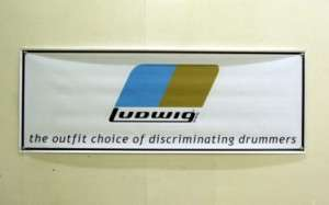 Vintage Ludwig 1970s Drum Badge Logo Banner   White