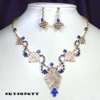 Aqua Blue Crystal Pendant Necklace Earrings Set S1146X