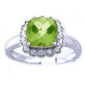 10k White Gold Diamond Peridot Gemstone / Birthstone Ring Jewelry