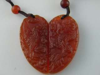 2Pcs Tibetan Red Jade Crystal Stone Rock Carved Dragon and Phoenix