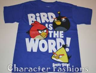 ANGRY BIRDS Short Sleeve Shirt Tee Size 4 5 6 7 8 10 12 14 16 18 Blue