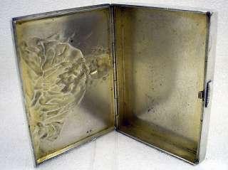 ANTIQUE RUSSIA EMPIRE 1900s ART DECO STERLING SILVER CIGARETTE CASE