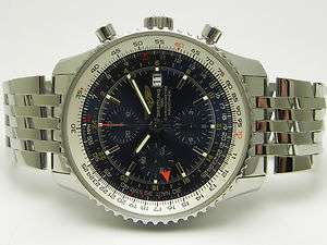 BREITLING NAVITIMER CHRONOMETER WORLD STAINLESS STEEL MENS WATCH STYLE