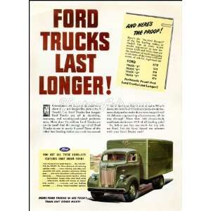 1946 Vintage Ad Ford Motor Company Ford trucks last longer