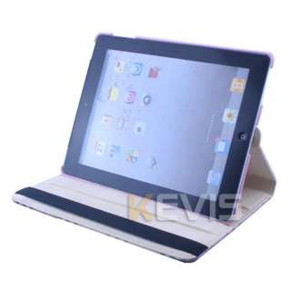 IPad 2 Stylish Rotating Magnetic Leather Case Smart Cover Swivel Stand