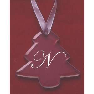 Glass Christmas Tree Ornament with the Letter N