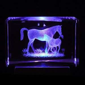 Horses Mother and Child 3D Laser Etched Crystal includes Two Separate