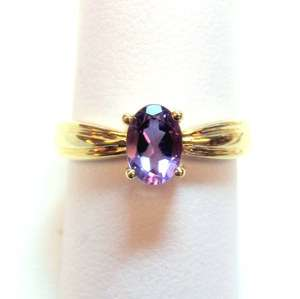 Classic Design Oval Amethyst Ladys Ring 10KT Yellow Gold 21078 1