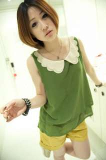Girl Sleeveless Double Bow Collar Chiffon Shirt vest Tank top