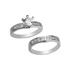 Ring Set  14KT White Gold Filled CZ Wedding Rings set by gemgem