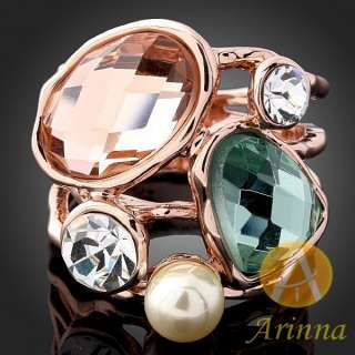 Arinna Swarovski Crystals pearls rose GP fashion Rings