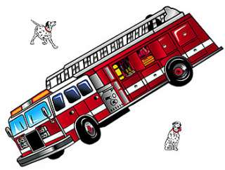 LARGE FIRETRUCK Boys Room WALL ACCENT MURAL+DOGS Decor