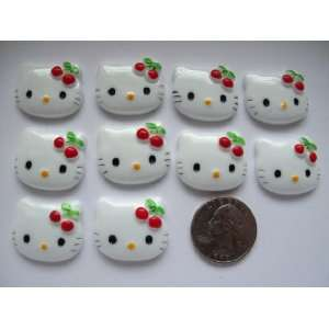 10 Large Resin Cabochon Flat Back Kitty Cat Red Cherry Cellphones 27mm