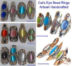 CATS EYE BEAD RINGS PERUVIAN PERU ALPACA SILVER LOT