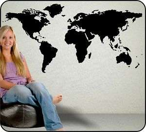 Large World Map vinyl wall decal sticker Atlas poster