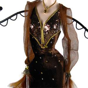 Velvet Dress Feather Jewelry Stand Mannequin 15 brown