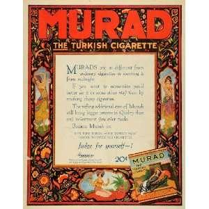 1919 Ad Murad Turkish Cigarette Tobacco Anargyros Turkey Women Dancers