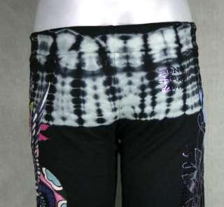 Ed Hardy Womens lounge Pants tie dye capris Dragon