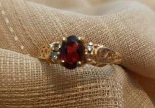 childrens 14k yellow gold garnet diamond accent ring 51/2