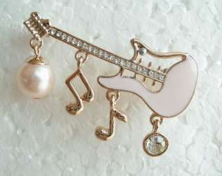 VARY COLORS PEARL SWAROVSKI CRYSTAL GOLD GUITAR MUSIC NOTE PIN BROOCH