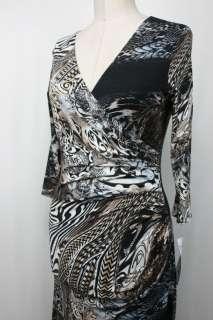 Joseph Ribkoff Black/Blue/Brown Printed Cocktail Dress Sz 6 8 12 14 16