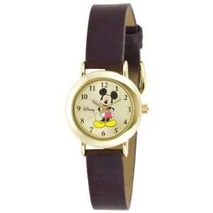 Exclusive Disney MCK614 Womens Mickey Mouse Brown Leather Band Watch