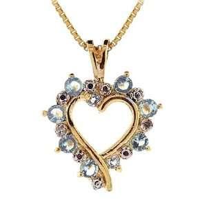 : Genuine Blue Topaz Diamond Open Heart Gold Pendant: Glitzs: Jewelry