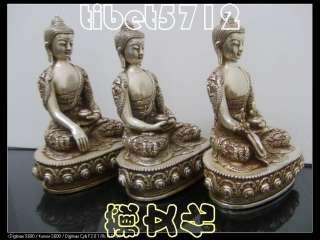 Bronze coated silver SHAKYAMUNI Amitabha medicine buddha statue