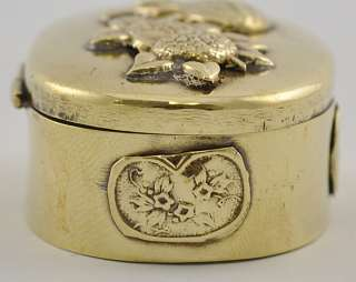 Antique Japanese Meiji Brass Small Oval Trinket Box Applied Decoration