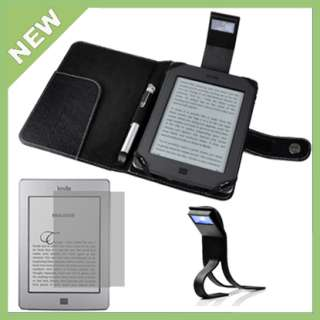 Black Leather Cover Case With Book Light+Protector Film For