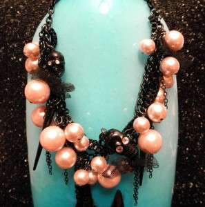 Johnson PINK PEARL TWO SIDED BLACK CRYSTAL SKULL SPIKE NECKLACE