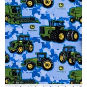 Licensed Cotton Print John Deere Tractor Toss On Blue