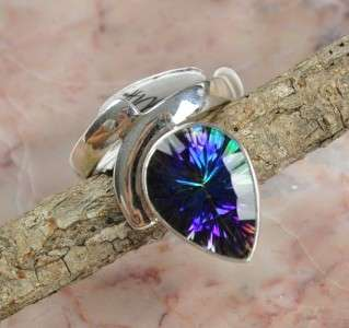 1080, BLUE MYSTIC TOPAZ .925 STERLING SILVER RING SIZE 6.75