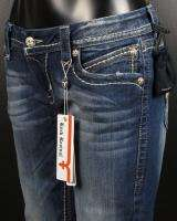 Womens ROCK REVIVAL Boot Cut Jeans LEAH RJ8305 B3 With BRASS BUTTONS