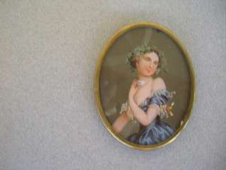 ca. 1890 Antique cameo broach reverse painted on glass