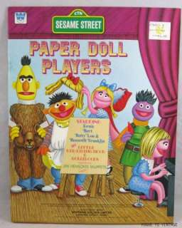Vintage 1976 Sesame Street Paper Doll Players Dolls