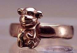 Rose gold plated monkey Sterling silver ring Jewelry