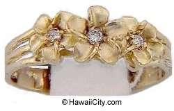Hawaiian Plumeria Flower 14k Gold Diamond Ring Jewelry