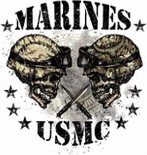 MARINES MARINE CORPS USMC SKULL T SHIRT TEE 2 SIDED