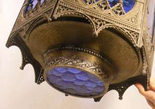 Deco Gothic Blue Glass Ceiling Light Fixture Shade Exterior Porch Lamp