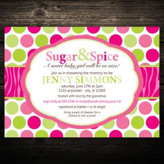 Sugar & Spice Zebra Print Birthday or Baby Shower Invitations