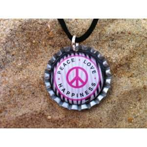 Zebra Print Peace Sign Bottle Cap Necklace, 18  Kitchen