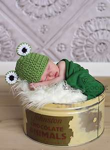 Photo prop   Crochet animal frog beanie hat for newborn baby boy and