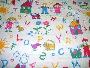 vintage Marimac kids drawing alphabet Twin Sheet Fabric