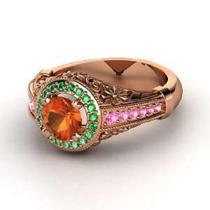 Ring, Round Fire Opal 14K Rose Gold Ring with Emerald & Pink Sapphire
