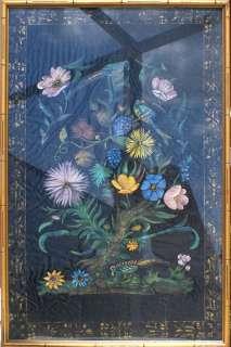 Japanese Oil on Silk Painting, Birds on Flower Tree